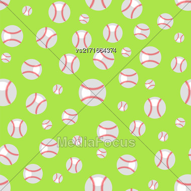 Baseball Seamless Pattern. Sport Background. Balls Isolated On Green Background Stock Photo