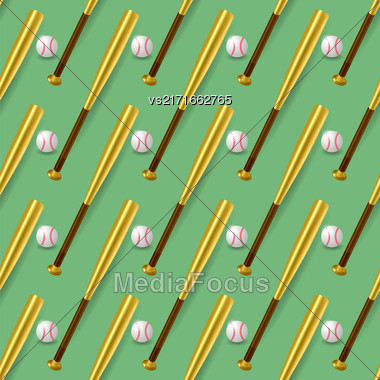 Baseball Sport Inventory Seamless Pattern Isolated On Green Background. Metal Bat And Leather Ball Texture Stock Photo