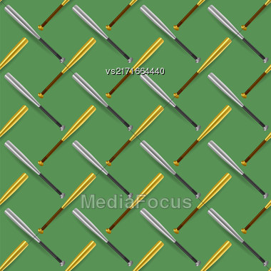 Baseball Sport Inventory Seamless Pattern Isolated On Green Background Stock Photo