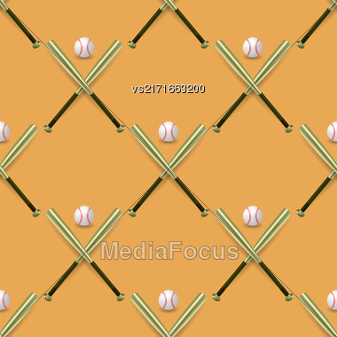 Baseball Sport Inventory Seamless Pattern Isolated On Orange Background. Metal Bat And Leather Ball Texture Stock Photo