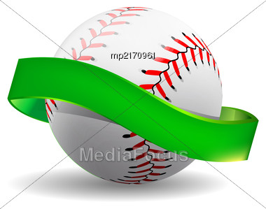 Baseball On White Background With Green Ribbon. Vector Illustration Stock Photo