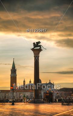 Basilica Di San Giogio Maggiore In Venice At Sunrise Stock Photo