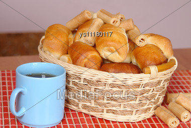 Basket With Fresh Baked Bun And Croissants Stock Photo