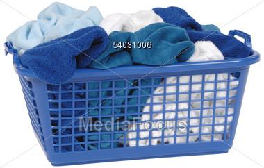 Basket with Fresh Laundry Stock Photo