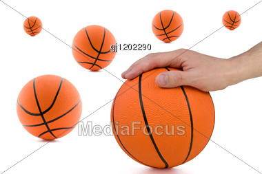 Basketball Abstract. Player Hand And Many Orange Balls. Stock Photo