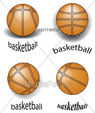 Basketball Creative Grunge Logo Design Isolated On White Background Stock Photo