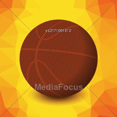 Basketball Orange Icon Isolated On Yellow Polygonal Background Stock Photo