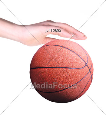 Basketball Player With Ball In Hand Stock Photo