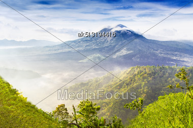 Batur Volcano On The Sunrise Stock Photo