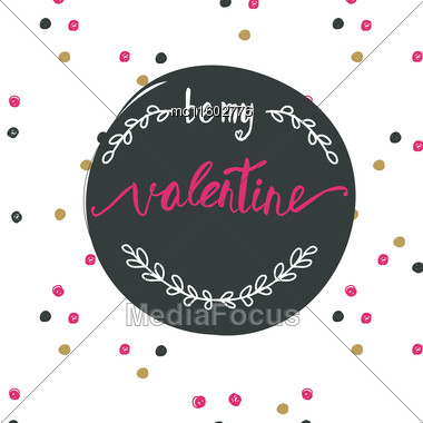 Be My Valentine Card Pink White Ink Text Stock Image Mc11602776