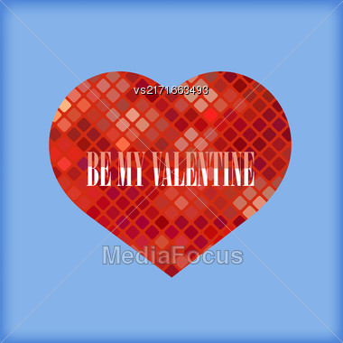 Be My Valentine Romantic Banner On Blue Background Stock Photo