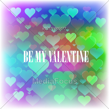 Be My Valentine Romantic Banner On Colorful Heart Background Stock Photo