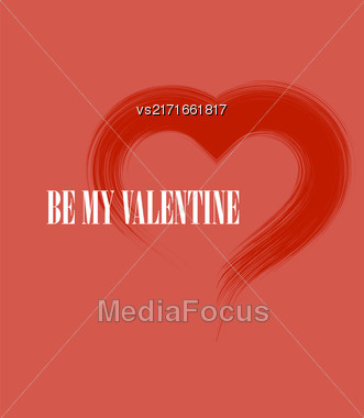 Be My Valentine Romantic Banner With Grunge Heart On Red Background Stock Photo