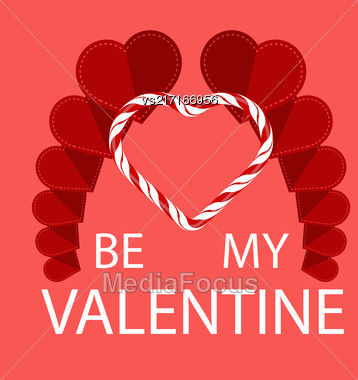 Be My Valentine Romantic Banner On Red Background Stock Photo
