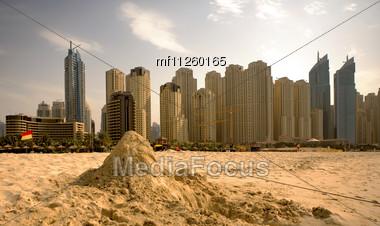 Beach in the city Stock Photo