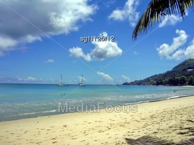 Beach On Seychelles. Island Mahe Stock Photo