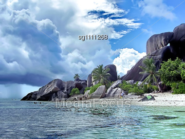 Beach On Seychelles. La Digue Island Stock Photo