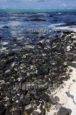Beach And Rocks In Ile Du Cerfs Mauritius Stock Photo