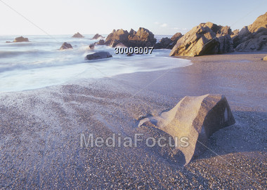 Beaches with Rock Formations Stock Photo