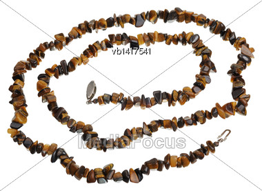 Beads Of Tiger's Eye, Isolated On A White Background Stock Photo
