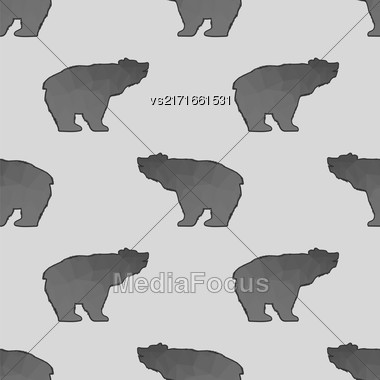 Bear Polygonal Seamless Pattern. Animal Silhouette Background Stock Photo
