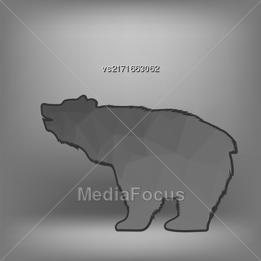 Bear Polygonal Silhouette Isolated On Blurred Grey Background Stock Photo