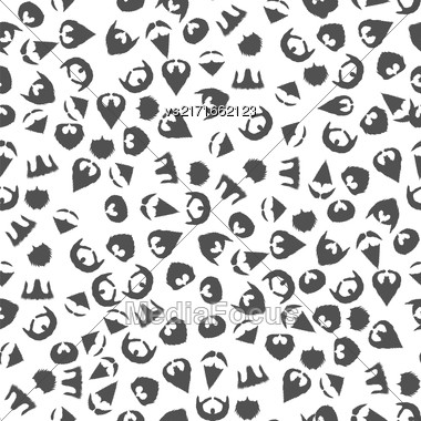 Beard Mustache Silhouette Seamless Pattern On White Background Stock Photo