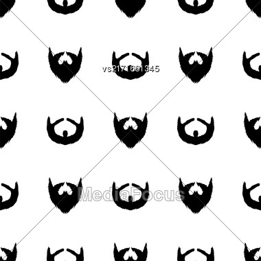 Beard Silhouette Seamless Pattern. Mustache Barber Background Stock Photo