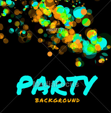 Beautiful Abstract Vector Party Background On Black Stock Photo