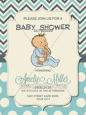 Beautiful Baby Boy Shower Card With Little Baby, Vector Format Stock Photo