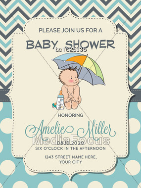 Beautiful Baby Boy Shower Card With Little Baby Under Umbrella, Vector Format Stock Photo