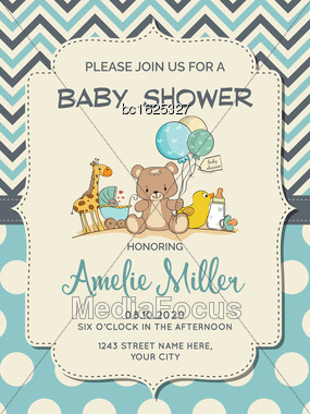 Beautiful Baby Boy Shower Card With Toys, Vector Format Stock Photo