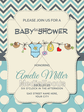Beautiful Baby Boy Shower Card, Vector Format Stock Photo