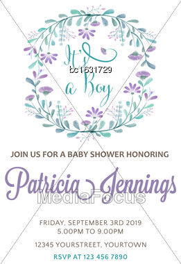 Beautiful Baby Boy Shower Template With Watercolor Flowers, Vector Illustration Stock Photo