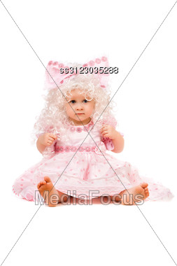 Beautiful Baby Girl In A Pink Dress Stock Photo