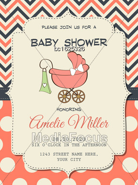 Beautiful Baby Girl Shower Card With Stroller, Vector Format Stock Photo