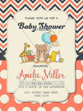 Beautiful Baby Girl Shower Card With Toys, Vector Format Stock Photo