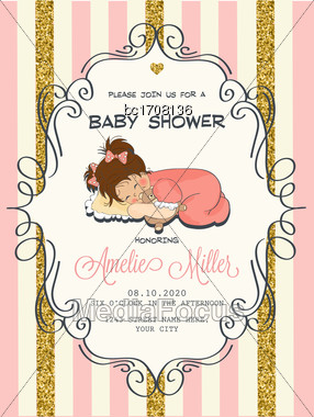 Beautiful Baby Shower Card Template With Golden Glittering Details, Vector Format Stock Photo