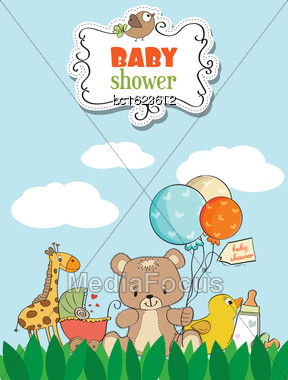 Beautiful Baby Shower Card With Toys Stock Photo