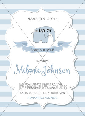 Beautiful Baby Shower Template, Vector Illustration Stock Photo