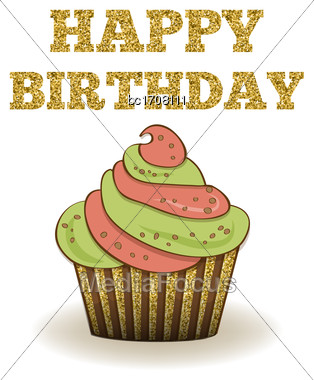 Beautiful Birthday Card Template With Golden Glittering Details, Vector Format Stock Photo