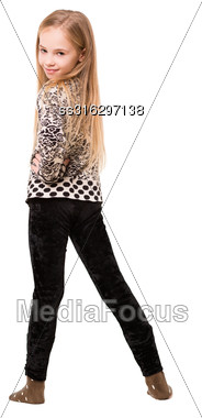 Beautiful Blond Girl Posing In Casual Clothes. Isolated On White Stock Photo