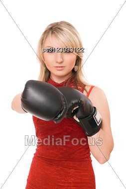 Beautiful Blond Young Lady In Boxing Gloves Stock Photo