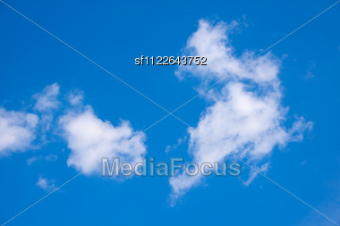 Beautiful Blue Sky And Clouds. Day Light. Stock Photo