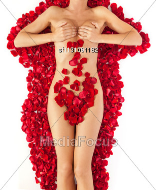 Beautiful Body Of Woman Against Petals Of Red Roses. Heart Shape Made Out Of Rose Petals Stock Photo