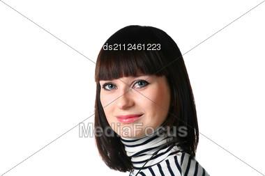 Beautiful Brunette Woman With Stock Photo
