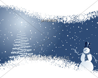 Beautiful Christmas (New Year) Card. Vector Illustration With Mesh. Stock Photo