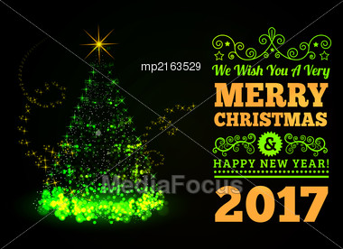 Beautiful Christmas Tree From Light Vector Background Stock Photo