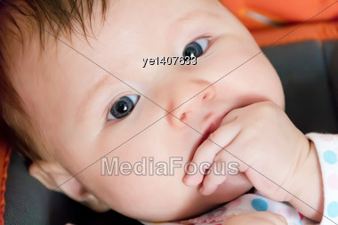 Beautiful Cute Newborn Infant Girl Stock Photo