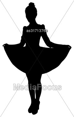 Beautiful Fashion Girl Silhouette On A White Background Stock Photo
